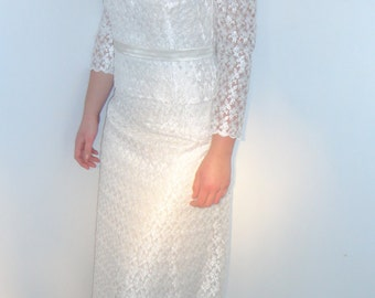 Vintage 1950's handmade wedding dress size 10 / taille 38