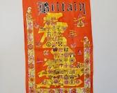 signed vintage Sundew orange linen Britain tea towel