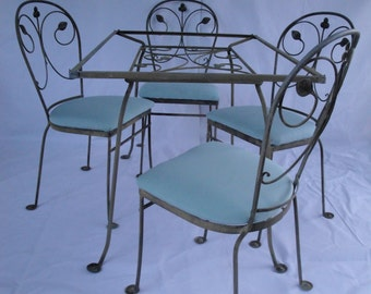 Salterini style wrought iron dining set in the laurel leaf pattern  ***READ LISTING BEFORE purchasing***