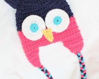 Crochet Owl Hat for Baby Girl or Boy - owl hat