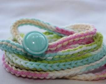 "Crocheted wrap bracelet handmade- Wrap jewelry -Pastels-Crochet bracelet -Handmade jewelry-Blue acrylic button-100% cotton 55"" (size medium)"
