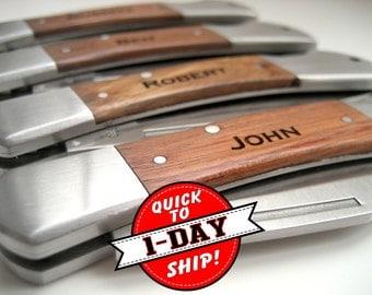 Engraved Knife - QUICK SHIP - Wood Handle Pocket Knife – Personalized Groomsmen Gift - Monogrammed Engraved Pocket Knife- Wedding Party Gift