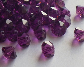 20 Rare Vintage Amethyst Swarovski Crystal Beads, 7mm Amethyst 5307, Purple Crystal Beads, 20 Vintage Crystal Beads