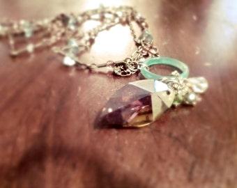 Crystal like Glass Leaf Necklace