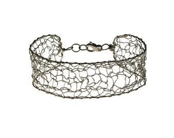 """Bracelet """"Susanne"""" knitted in silver."""