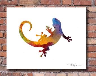 Gecko Art Print - Abstract Watercolor Painting - Wall Decor