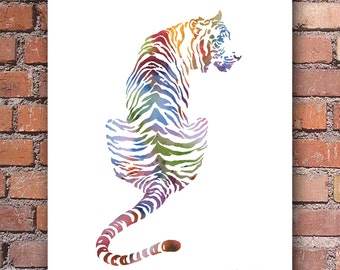 Tiger Art Print - Watercolor - Colorful Abstract Painting - Wall Decor