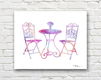 Bistro Set Art Print - Abstract Table and Chairs Watercolor Painting -  Wall Decor