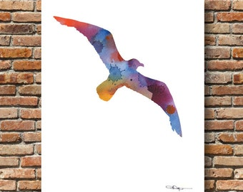Seagull Art Print - Abstract Watercolor Painting - Wall Decor
