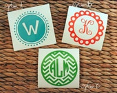 Decorative Round Vinyl Monogram Initial Decal - Monogram Decal - Custom Monogram Decal - Monogram Vinyl Decal