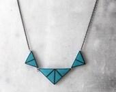 Geometric necklace, turquoise necklace, minimal necklace, polymer clay necklace, triangle necklace, blue necklace, polymer clay jewelry