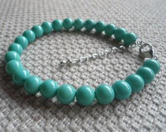 Pearl Bracelet,Turquoise Pearl Bracelet,Wedding Jewelry,Pearl Jewelry,Bridesmaid Bracelet,8mm Pearl Bracelet,Glass pearl Bracelet,