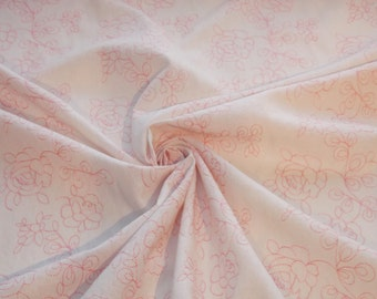 Pink Floral Embroidered White Rayon/Linen fabric by the yard