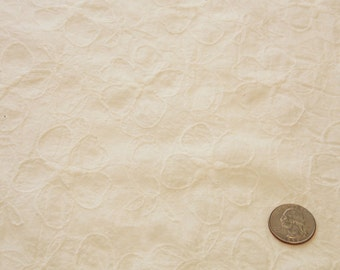 White on white Flower Embroidered Cotton Fabric // Floral Embroidered White Crinkle Cotton fabric by the yard
