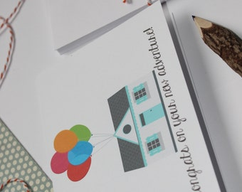 Congrats On Your New Adventure Notecard - Disney Pixar UP - Perfect For New Homeowners, Housewarming, Weddings, New Baby!