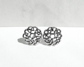 Round Celtic Knot Stud Post Earrings, Sterling Silver Celtic Earrings, Celtic Style Stud Posts Earrings, Little Silver Studs, Atigga