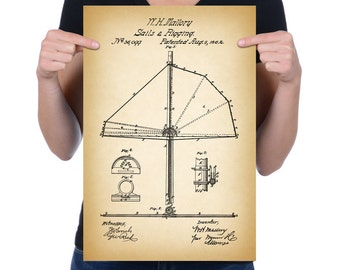"""Vintage 1862 """"Sails & Rigging"""" Patent Drawing, Retro Art Print Poster, Wall Art, Home Decor, Boating, Yachting, Sailing, Gift Idea"""