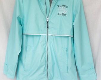 Kappa Delta Embroidery On Teal (Aqua) Rain Jacket