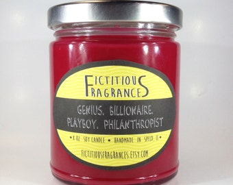 Genius, Billionaire, Playboy, Philanthropist -- Iron Man Avengers Inspired 8 oz Scented Soy Candle