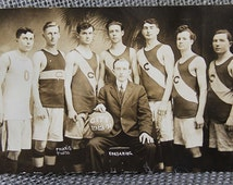 Vintage Sports Photos includes real photo postcard of 1913 basketball team and others