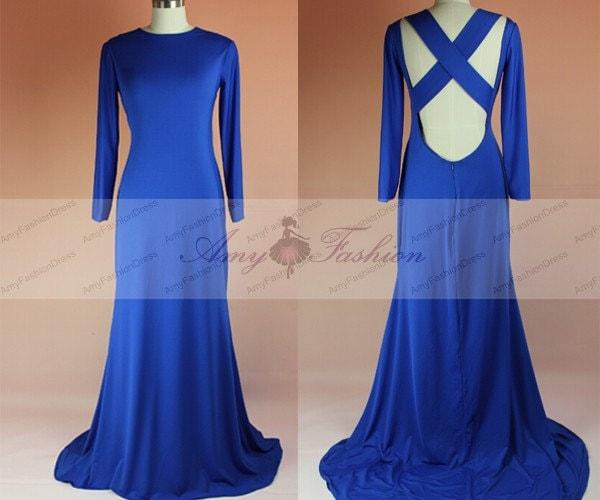 Royal Blue Prom DressLong Sleeve Mermaid Prom Dresses