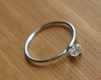 Petite Rough Cut Diamond Ring in Sterling Silver