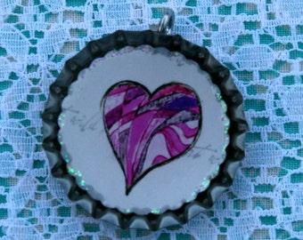 BOTTLE CAPS- Heart- Purple Collage, Valentine Gifts, Valentine Heart