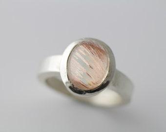 Oregon Sunstone Ring in Sterling Silver, Oregon Sunstone Cabochon Ring With Great Schiller