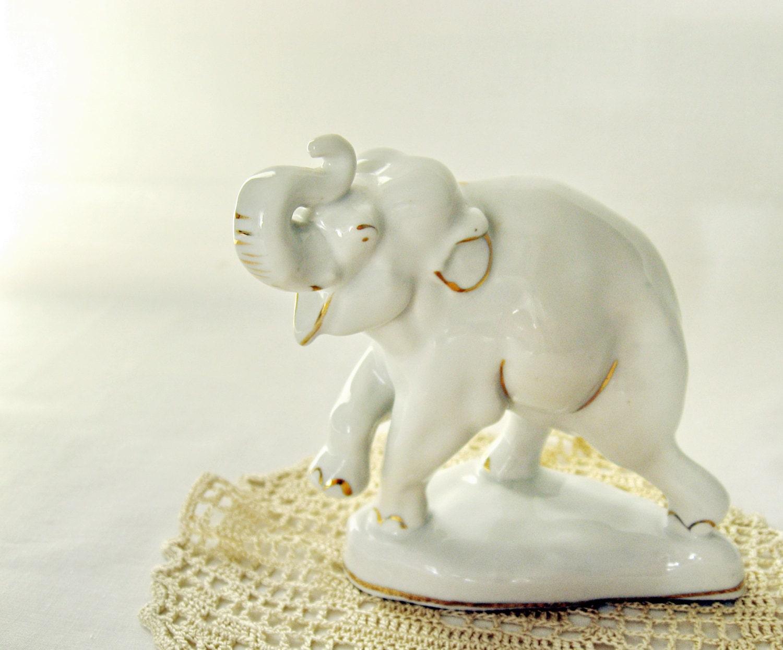 Porcelain Figurine Elephant Vintage Collectible Midcentury