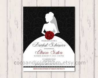 Black and Red Bridal Shower Invitation - Personalized Digital Download