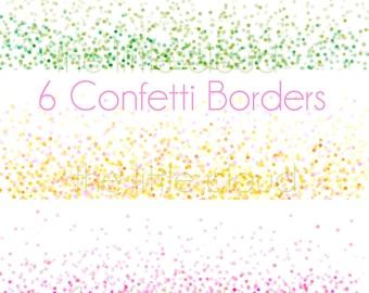 Confetti Border set  - 6 Bright Colourful Digital borders - for Scrapbooking, Crafts, Invitations, Digital Scrapbooking