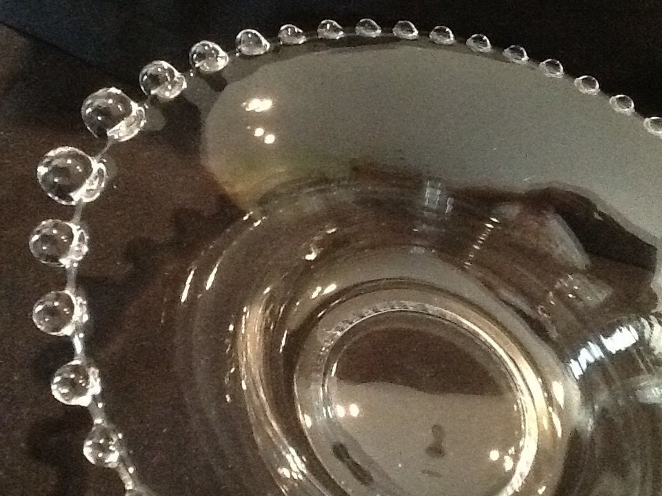 Depression glass candlewick bowl rare 11 size for Most valuable depression glass patterns