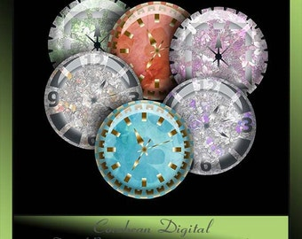 Muted flower clock collage sheet  for your crafting projects.