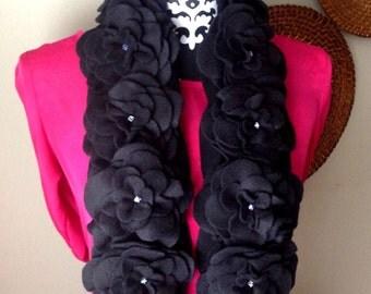 Women Scarf, Women Fleece Flower Scarf, Black Scarf, Ready to Ship