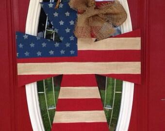 American Flag Cross Door Hanger, Patriotic, Door Hanger, Red, White, and Blue, patriotic door hanger, cross door hanger, patriotic door deco
