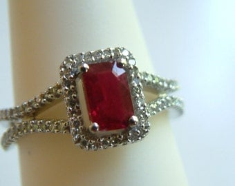 Ruby Ring emerald cut  with diamonds, .83ctw  solid 14k white gold - Free Shipping