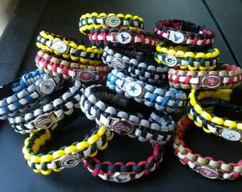 Football paracord bracelets. Handmade using 550 paracord