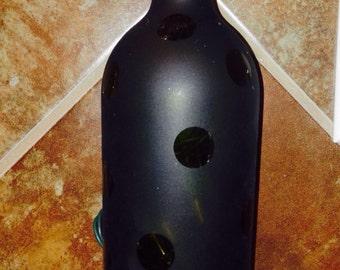 Frosted polka dot wine bottle light