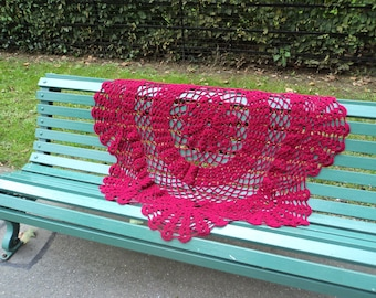 Claret Swirl Crochet Throw
