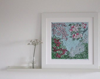 LINO PRINT - 'Blooming Blossom' - Hand Printed, Hand finished Lino Cut