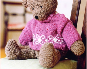 Vintage Pink bear Knitting pattern 99p Digital download