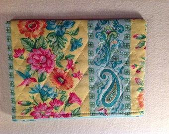 Blue and Yellow Quilted Zippered Pouch