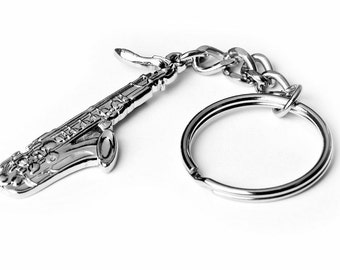 Saxophone Keyring/Keychain - Music Teacher Gift - Perfect for instrument cases!