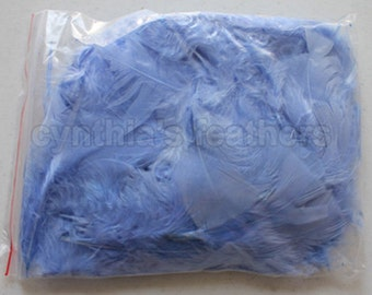 """10g (0.35Oz) light blue 3~4"""" turkey plumage feathers 80~120 counts, for crafting, sewing, etc, SKU: 7G32"""