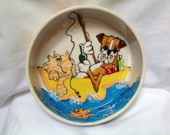 "Hand Painted Ceramic Pet Bowl - ""Gone Fishing"""