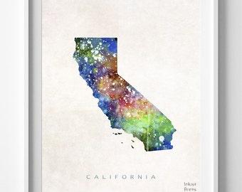 California Map Print, Los Angeles Print, California Poster, CA Map, Watercolor Painting, Map Art, Wall Decor, Travel, Back To School