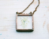 Queen Anne's lace real pressed flower glass soldered pendant- herbarium floral pendant