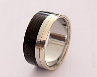 Titanium ring with bronze pinstripe and wenge wood inlay