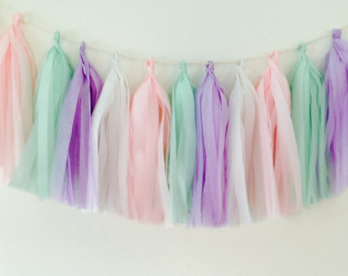 Tissue tassel garland in pastels, light pink, mint, lilac, and white tissue paper tassel, Unicorn Birthday, Wedding tassels, Baby shower