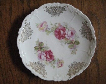 Antique China Rose Transfer Ware Plate